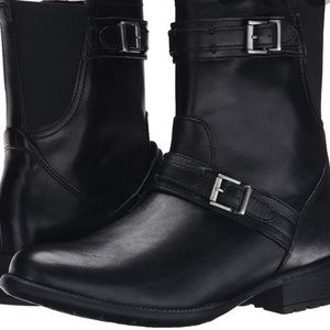 Clark's New black Plaza City leather boots size 6M